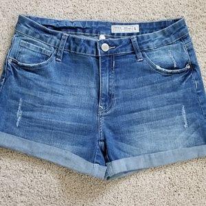 Papaya lightly distressed denim jeans shorts